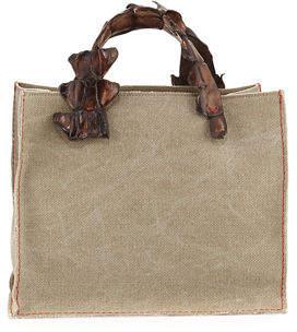 Laboratorio Capri Greta Canvas Tote Bag w/Crocodile Handles