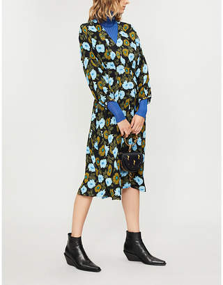 Sandro Floral-print crystal-embellished crepe dress