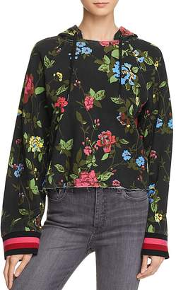 Pam & Gela Floral Cropped Hooded Sweatshirt