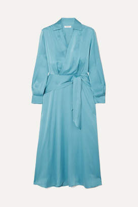 Equipment Vivienne Silk-blend Wrap Dress - Blue