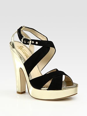 Jerome C. Rousseau Suede and Metallic Leather Platform Sandals
