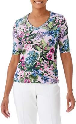 Olsen Santorini Floral Elbow-Length Sleeve Tee