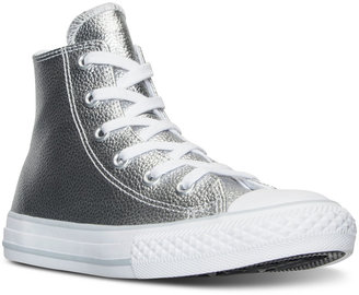 Converse Little Girls' Chuck Taylor High-Top Metallic Leather Casual Sneakers from Finish Line $39.99 thestylecure.com