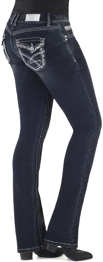 Dark Blue Selma Short Bootcut Jeans