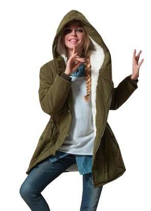 Eleter Women's Warm Winter Coat Plus Size Hoodie Parkas Overcoat Fleece Jacket (2XL,)