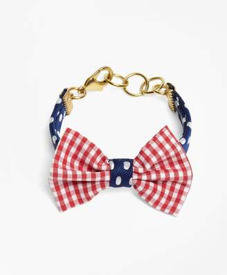 Brooks Brothers Kiel James Patrick Gingham and Polka Dot Bow Tie Bracelet