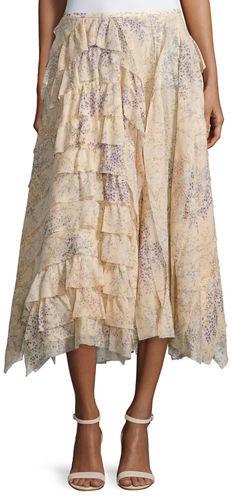 Michael Kors Asymmetric Ruffle A-Line Skirt
