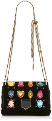 Jimmy Choo LOCKETT MINI Black Velvet Shoulder Bag with Multi Gems