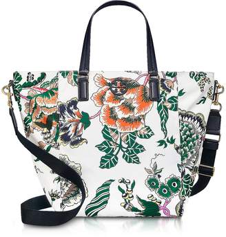 Tory Burch Tilda Ivory Happy Times Printed Nylon Small Tote Bag