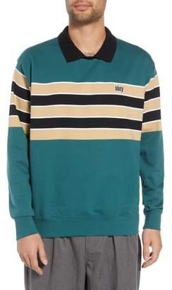 Obey Cupid Striped Polo Collar Sweatshirt