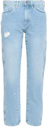 MiH Jeans Cropped Distressed Mid-rise Straight-leg Jeans