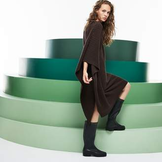 Lacoste Women's Fashion Show Asymmetrical Sleeves Wool And Cashmere Dress