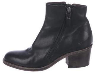 AGL Leather Round-Toe Ankle Boots
