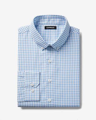Express Slim Check Button-Down Cotton Dress Shirt