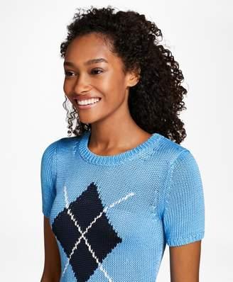 Brooks Brothers Short-Sleeve Argyle Sweater