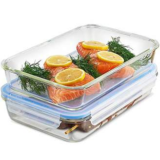Glass Casserole Dish with Lid - (Set of 2) 12x8 Inch Freezer-to-Oven Safe Baking Dish and Airtight Food Storage Containers