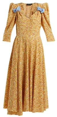 Anna October - Bow Embellished Floral Print Dress - Womens - Yellow Multi