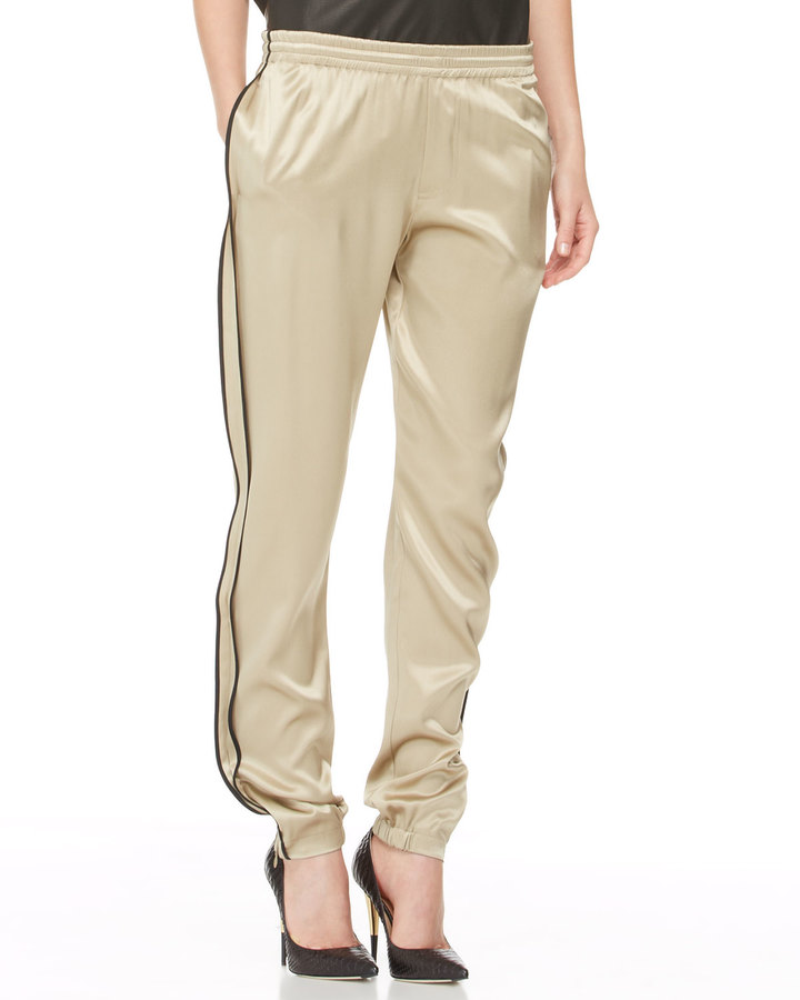 ADAM by Adam Lippes Silk Track Pants, Gold/Black