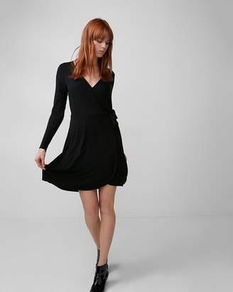 Express Petite Long Sleeve Wrap Dress