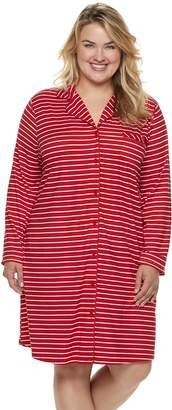 Croft & Barrow Plus Size Notch Collar Sleepshirt