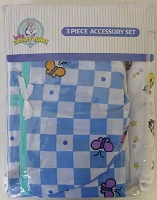 Looney Tunes Warner Bros. Baby 3 Piece Garden Party Accessory Set - Crib Skirt, Flannel Receiving Blanket, Diaper Stacker