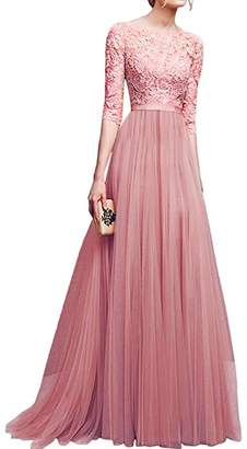 IBTOM CASTLE Women's Tulle Floral Lace Bridesmaid Long Dress Prom Evening Cocktail 3/4 Sleeves Floor Length Retro Vintage Formal Maxi Gowns L