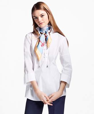 Brooks Brothers Lace-Up Stretch-Cotton Tunic