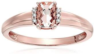 10k Rose Gold Morganite And Diamond Accented Solitaire Engagement Ring