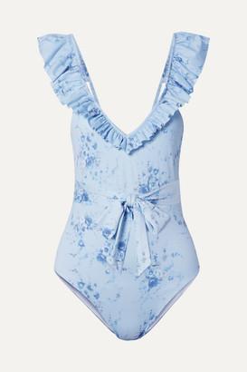 LoveShackFancy Opal Belted Ruffled Floral-print Swimsuit - Light blue
