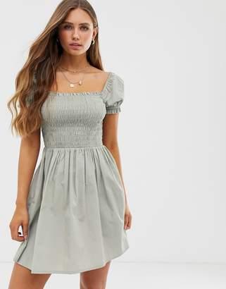 Asos Design DESIGN shirred bodice square neck cotton mini smock dress