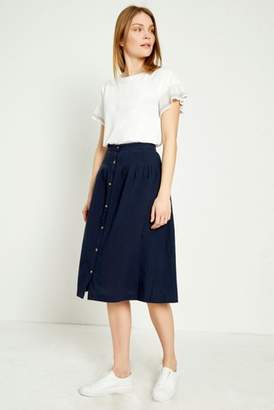 aa826d44ab5d Next Womens Great Plains Blue Safi Linen Button Midi Skirt