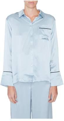 Asceno Blue Silk Pajama Top