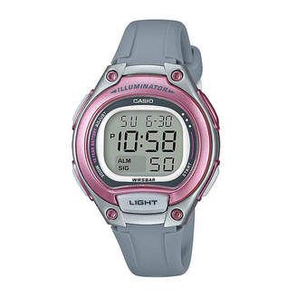 Casio TABLE Table Illuminator Womens Gray Strap Watch-Lw203-8vpb
