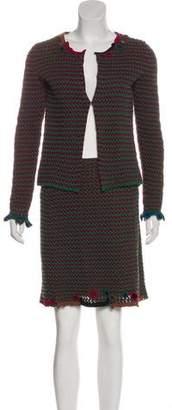 Prada Embellished Knit Skirt Suit