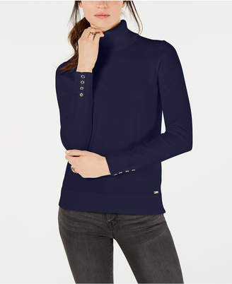 Tommy Hilfiger Cotton Button-Trim Turtleneck Sweater