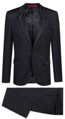 HUGO Boss Extra-slim-fit tuxedo in virgin wool reverse lapels 38R Black