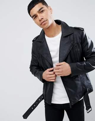 Bershka Faux Leather Biker Jacket In Black
