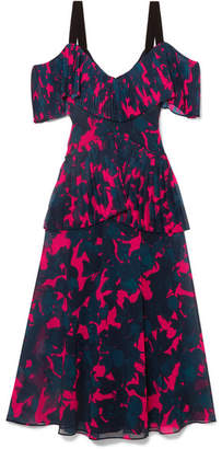 Jason Wu Cold-shoulder Pleated Floral-print Chiffon Midi Dress - Pink