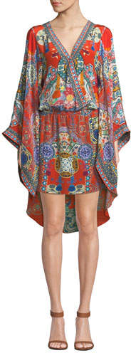 Camilla Printed Silk Kimono Dress