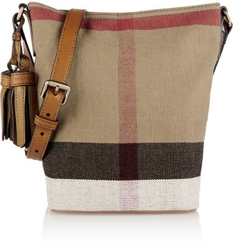 Burberry - Mini Leather-trimmed Checked Canvas Shoulder Bag - Light brown $695 thestylecure.com