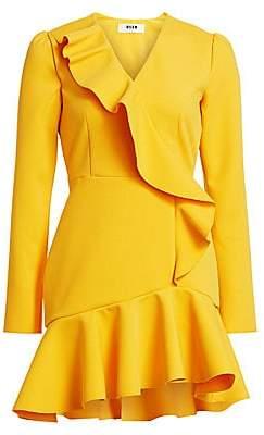MSGM Women's V-Neck Ruffle Mini A-Line Dress