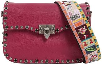 Valentino Rockstud Rolling Bag W/Embroidered Strap