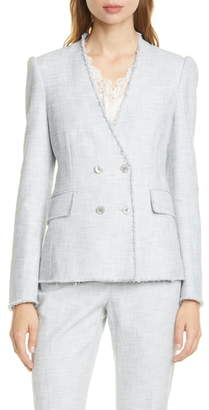 Rebecca Taylor Tailored by Cotton Blend Slub Suit Jacket