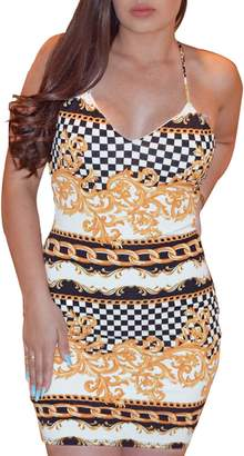Glamaker Women's Sexy V Neck Spaghetti Strap Print Lace Up Bodycon Mini Dress