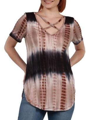 24/7 Comfort Apparel Women's Clementina Brown and Blue Tie Dye Tunic Top