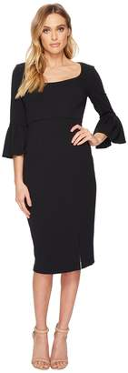 Donna Morgan 3/4 Length Bell Sleeve Scoop Neck Crepe Sheath w/ Midi Length Skirt and Side Slit Women's Dress