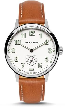 Jack Mason Field Sub Second Leather Strap Watch, 42mm