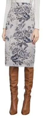 BCBGMAXAZRIA Floral Embroidery Metallic Pencil Skirt