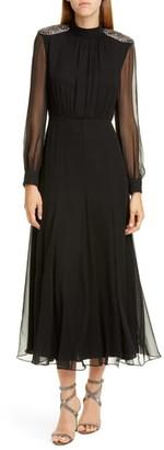 Saloni Jacqui Silk Long Sleeve Midi Dress
