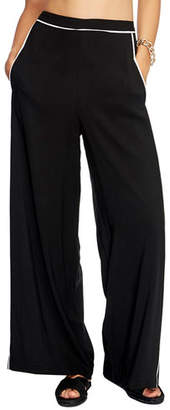 Jets High-Waist Coverup Palazzo Pants with Piping